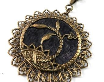 Victorian Button Necklace, Antique Button Jewelry, Deep Earth Botanical Vintage Button Pendant