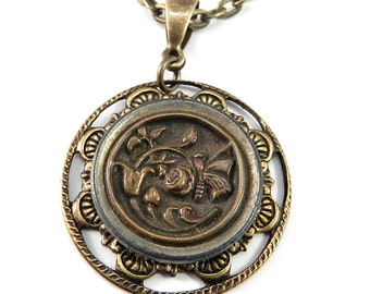 Antique Button Necklace - Victorian Butterfly Button Jewelry by Compass Rose Design