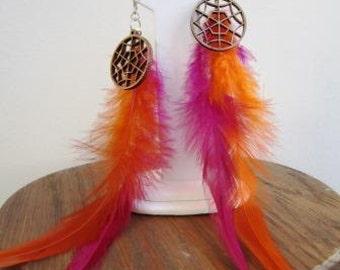 Feather Earrings Sterling Silver Wood Pierced Orange Purple Halloween Spider Web - 7 inches