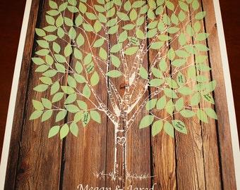 Wood Guestbook Wedding Tree Guest Book on Wedding Tree Poster Guest Book Alternative Poster Custom Wedding Gift Rustic Wedding Tree Print