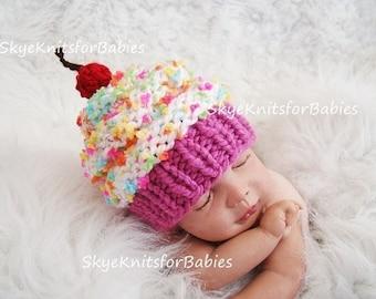 Knit Baby Cupcake Hat, Baby Hat, Knit Newborn Cupcake Beanie, Knit Baby Hat, Cupcake Baby Hat, Preemie - 24 Months, Newborn Prop