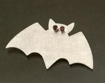 Sterling Silver Bat Brooch Garnet Eyes, Halloween Silver Brooch, Sterling Silver Bat Pin with Red Garnet Eyes