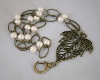 Large Antiqued Brass Filigree Leaf and Glass Pearl ID Badge Lanyard. Leaf Lanyard, Brass Lanyard, Pearl Lanyard