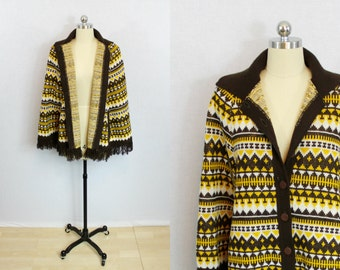 Vintage Yellow and brown tribal print cape