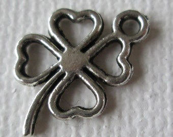 Clover Charms, Silver Clovers, Four Leaf Clover Charms, 10pcs, 17mm, Jewelry Supplies, Zardenia