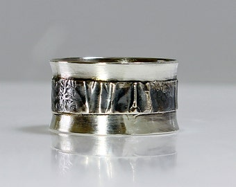 "Size 9 Ring Handcrafted  Sterling Silver Wide Band Ring ""Silver Folds""  Contemporary One of A Kind Artisan Jewelry Design 4983409282714"