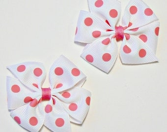Toddler Girls Polka Dot Hair Bow Set Small Little Toddler Childrens Kids Boutique  Fashion Hair Clip Hairbows (Set of 2)