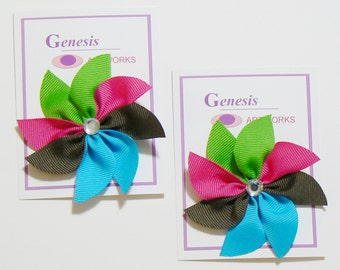 Girls Flower Hair Bow Set Toddler Childrens Kids Boutique Fashion Small Hair Clip Hairbows (Set of 2)