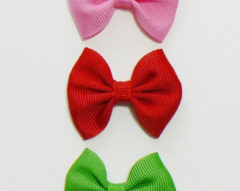 Girls Infant Hair Bow Set Small Newborn Tiny Little Baby Bows Kids Hair Clip Hairbows (Set of 5) Choose Colors