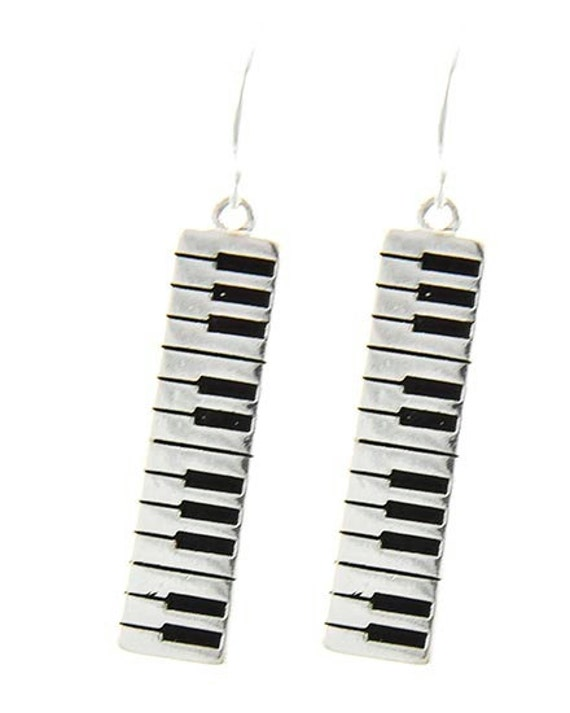 Keyboard Earrings - Piano Earrings - Musical Piano Keyboard Metal Dangle Earrings