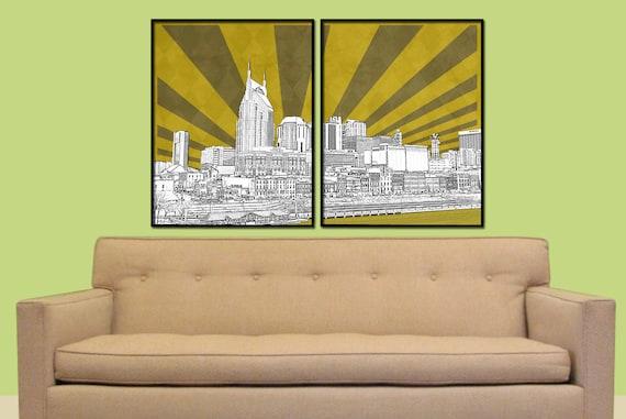Nashville Split Digital City Wall Art
