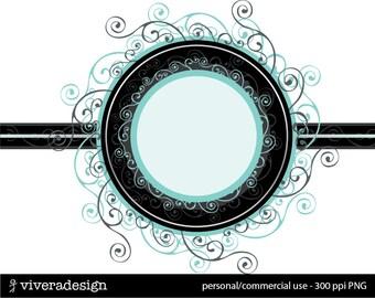 Digital Clip Art - Elegant Swirly Frame - in Tiffany Blue and Black