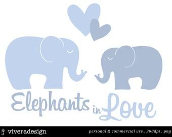 Elephants in Love Digital Clip Art - in Blue
