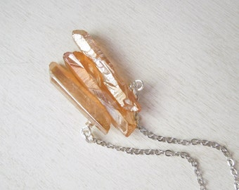 Peachy Orange Mystic Quartz Necklace - Natural Quartz Points with Titanium Pendant Necklace Silver Chain no.7
