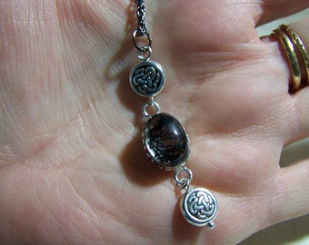 Black Rutilated Quartz Pendant with Silver Celtic Beads