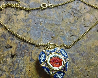 Vintage Heart Micro MOSAIC Necklace - Heart pendant