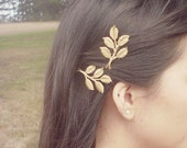 Gold Bridal Hair Pins Bridesmaid Bobby Pins Leaf Clips Rustic Woodland Wedding Accessories Grecian Greek Goddess Womens Gift For Her Spring