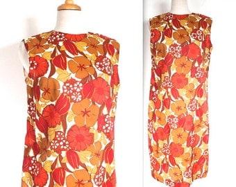 Vintage 1960's Dress // 60s Red Floral Print Cotton Shift Dress // Retro Day Dress
