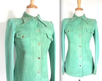 Vintage 1970's Jacket // 60s 70's Green Seafoam Suede and Wool Jacket // Retro