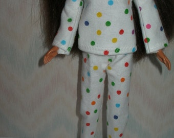 "Handmade 11.5"" fashion doll pajamas - white with dots flannel"