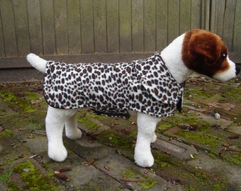 Brown and Black Leopard Fleece Dog Coat- Small- 12 to 14 Inch Back Length