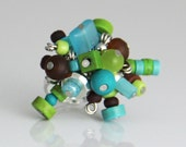 OUT OF TOWN - Fun Beaded Cluster Ring - Colorful Turquoise Blue Teal Lime Green Chocolate Brown Silver Cluster Fun Adjustable Cocktail Ring