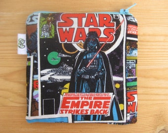 Padded Zip Pouch purse Gadget Coin Case - Star Wars Empire Strikes Back Darth Vader Lightsaber Character print