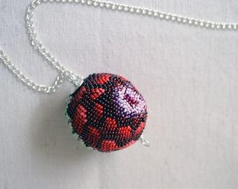 Lotus Flower Bud Peyote Stitch Bead Chain Necklace