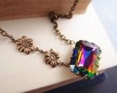 Vintage vitrail glass jewel,aged brass flower asymmetrical necklace