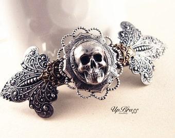 Gothic skull barrette-aged silver brass-Gothic-Victorian-Medieval-Steampunk
