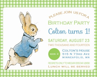 Peter Rabbit Invite Etsy