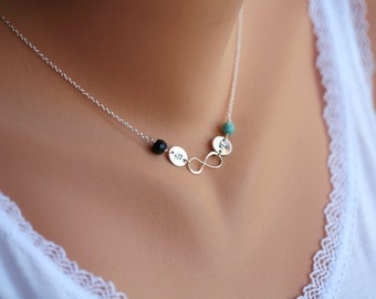 Infinity necklace,couple birthstone necklace,initial necklace,Sideways infinity,custom birthstone,best friend gift,Love infinity,anniversary