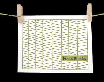 Herringbone Happy Birthday Card (Gocco printed)