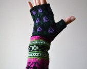 Wool Fingerless Gloves with Flowers - Long Fingerless Gloves  - Fashion Gloves - Gift Ideas - Christmas nO 97.