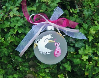 New Baby Ornament Its A Girl - Stork Ornament - Gender Reveal - Hand Painted Christmas Ornament, Baby Girl Announcement, Baby Bauble