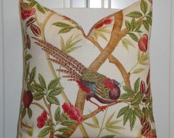 Lee Jofa - Decorative Pillow Cover - Rose - Pink - Red - Green - Birds - Custom Designer Pillow