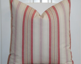BOTH SIDES - Decorative Pillow Cover - 20 x 20 - Classic Stripe - Accent Pillow  - Red - Blue - Yellow - Khaki