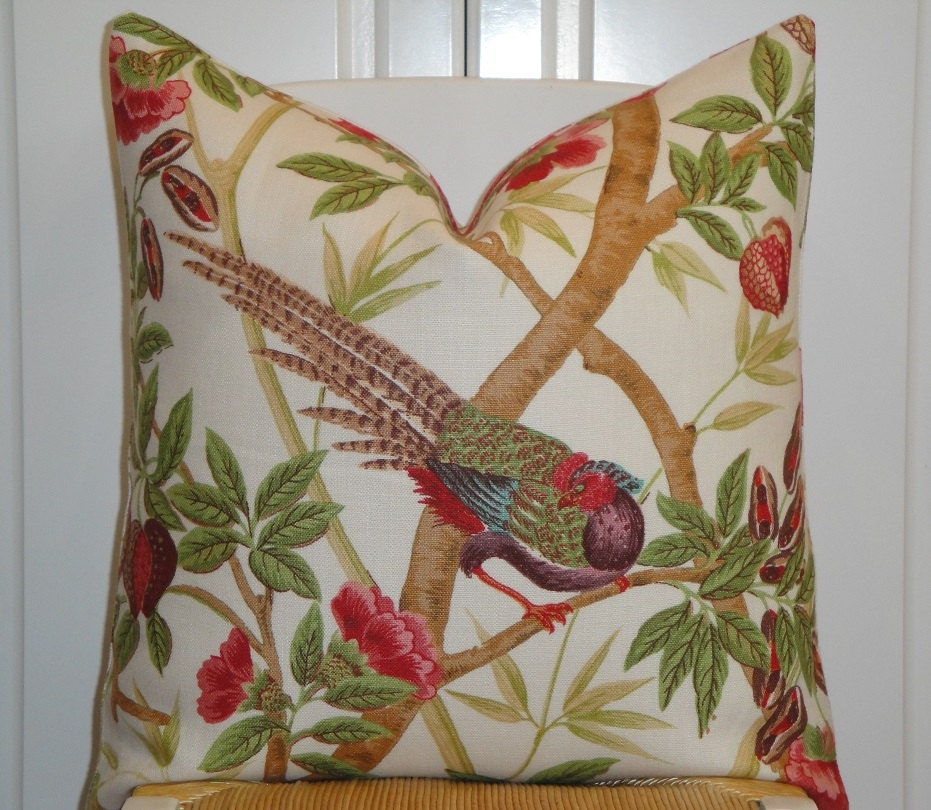 Lee Jofa Decorative Pillow Cover Rose Pink Red Green