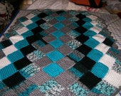 "Crocheted Baby  Blanket 35"" by 28"" Teal, Black White & Grey  Free Shipping"