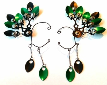 Deluxe Emerald Steam Drake Clockwork Wings- Over The Ear Cuff Set Steampunk Accessory