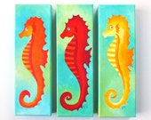 THREE SEAHORSES, Art for home and office, Set of 3, 4x12 acrylic canvases - nJoyArt