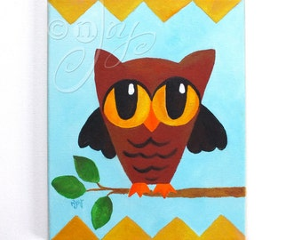 Babys Room Art, Owls Says Hoot, 8x10 Acrylic woodland animal art for childrens rooms