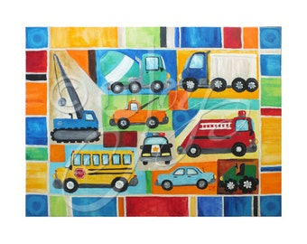 Custom Kids Wall Art, TRANSPORTATION COLLAGE, custom 24x18 canvas painting for boy room