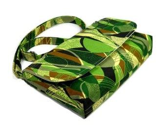 Small Green Cross Body Purse, Mini Messenger Bag, Small Fabric Purse, Cotton Pocketbook, Everyday Crossbody Purse, Adjustable Strap