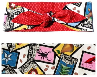 Vintage Inspired Head Scarf, Loteria, Red Polka Dots, Retro, Rockabilly