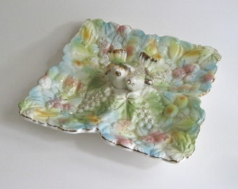Reduced.....Kitschy Pastel Candy Dish / Lovebirds / Divided Dish