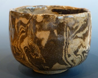 Nerikomi / Neriage Japanese Style Tea Bowl Large Chawan Tan and Brown Stoneware George Watson artist