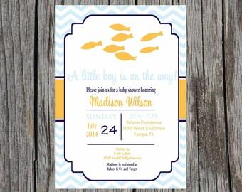 Printed Nautical Baby Shower Invitation, baby boy, fish shower invitation, baby boy