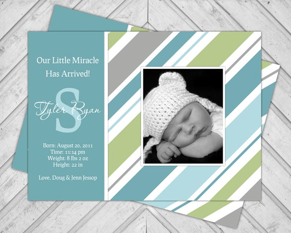 Printable Baby Boy Announcements, Newborn Birth Announcement Photo Cards, Teal Green and Gray Stripes with Initial, DIY Digital File (121)
