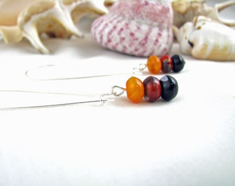 Orange Red and Black Long Earrings Surgical Steel
